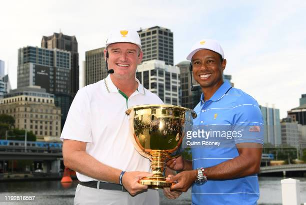 Team captains Ernie Els and Tiger Woods pose with the Presidents Cup during a 2019 Presidents Cup media opportunity at Riverwalk at Crown Towers on...