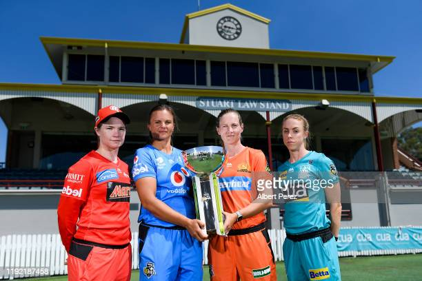 Team captains Jess Duffin of the Melbourne Renegades Suzie Bates of the Adelaide Strikers Meg Lanning of the Perth Scorchers and Kirby Short of the...