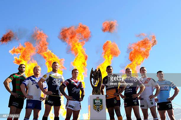 Team captains of the NRL finalist teams pose for a photo during the 2015 NRL Finals series launch at Sydney Cricket Ground on September 7 2015 in...