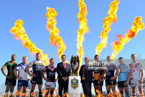 Team captains of the NRL finalist teams pose for a photo with Dave Smith CEO of the NRL and Dave Good of Telstra during the 2015 NRL Finals series...