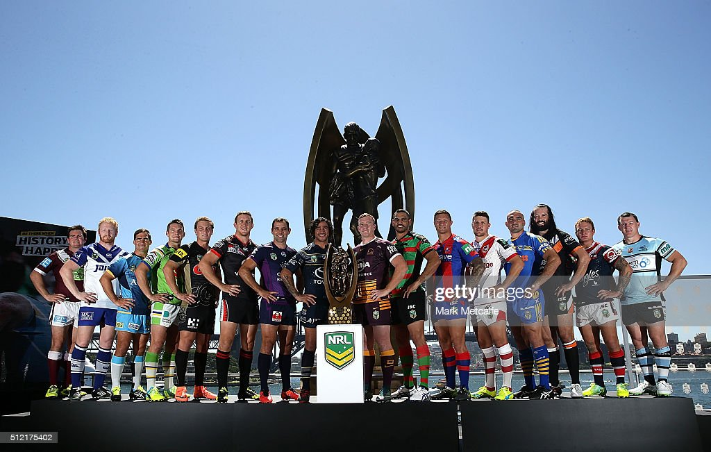 Team captains of the NRL line up for a photo with the premiership trophy during the 2016 NRL Season Launch at Sydney Botanical Gardens on February 25, 2016 in Sydney, Australia.