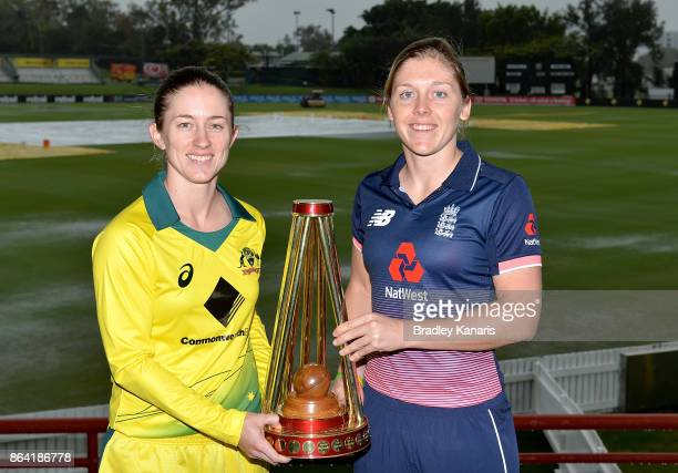 Team captains Rachael Haynes of Australia and Heather Knight of England pose for a photo after an Australian Women's Training Session at Allan Border...