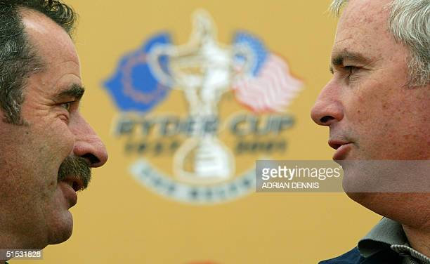Team captains Sam Torrance of Europe and Curtis Strange of the USA face each other 23 September 2002 during a press conference at the 34th Ryder Cup...