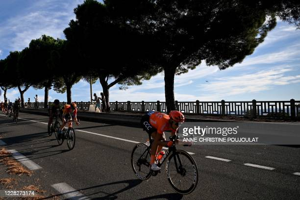 Team CCC rider Italy's Matteo Trentin rides during the 2nd stage of the 107th edition of the Tour de France cycling race, 187 km between Nice and...
