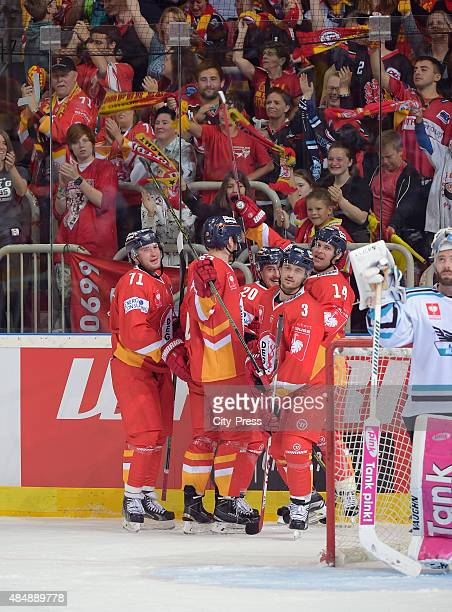 2 during the game between Duesseldorfer EG and Black Wings Linz on August 22 2015 in Duesseldorf Germany