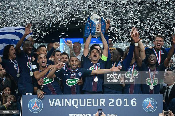 PSG team celebrates during the French Cup Final between Paris Saint Germain and Marseille at Stade de France on May 21 2016 in Paris France
