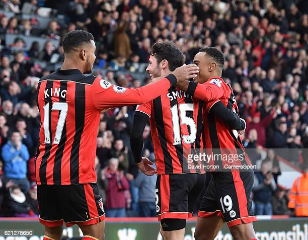 Team celebrates scoring the opening goal scored by Bournemouth's Adam Smith during the Premier League match between AFC Bournemouth and Sunderland at...