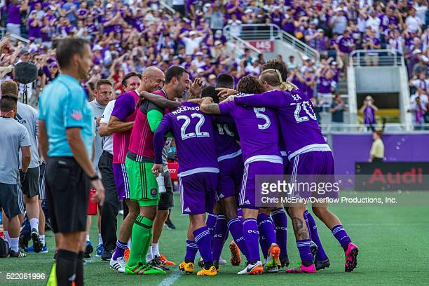 Team Celebration after Kevin Molino of the Orlando City Lions Scores the 2nd goal for the team against the New England Revolution at the Citrus Bowl...