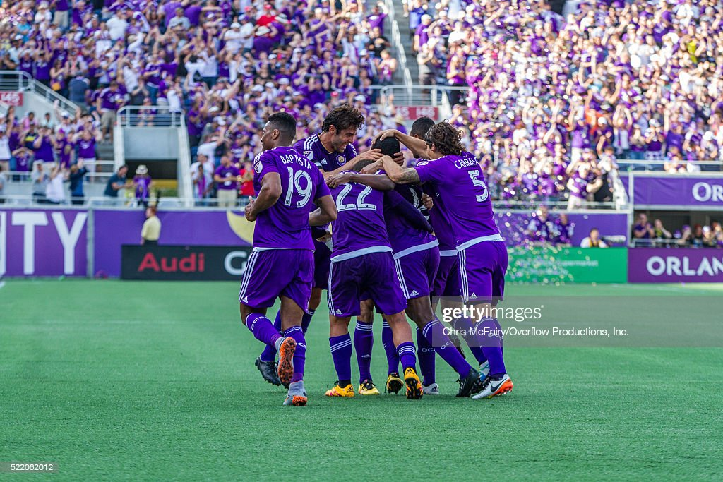 Team Celebration after Kevin Molino #18 of the Orlando City Lions Scores the 2nd goal for the team against the New England Revolution at the Citrus Bowl in Orlando, Florida on April 17, 2016.