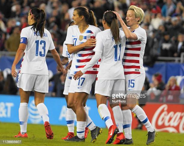 USA team celebration after Tobin Heath of The United States scores the first goal of the evening during the SheBelieves Cup match between The United...