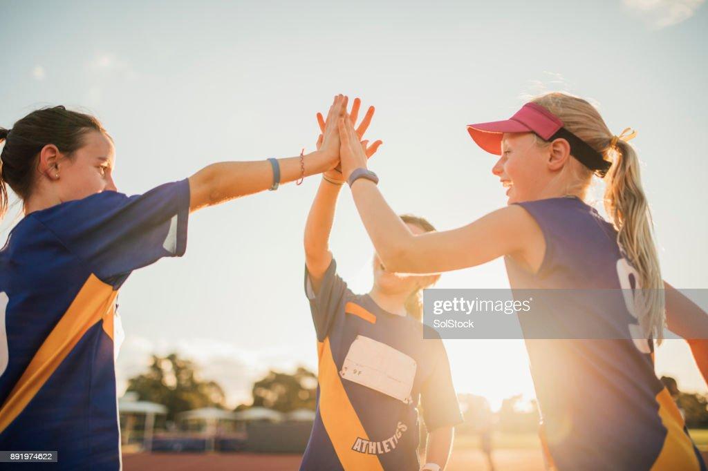 Team Celebration In Athletics Club : Stock Photo