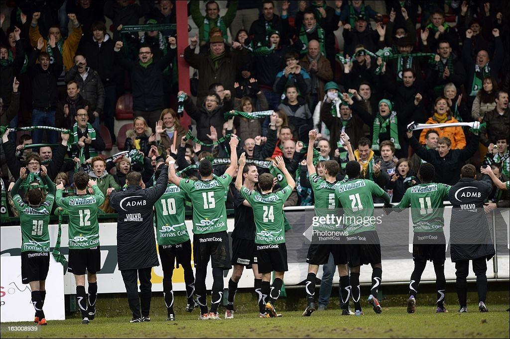 Team Cercle Brugge celebrates the win with their supporters after the Cofidis Cup semi-final match between KV Kortrijk and Cercle Brugge in the Guldensporen stadium on March 03, 2013 in Kortrijk, Belgium.