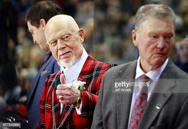 Team Cherry coach Don Cherry gives Bobby Orr the thumbs up during the CHL/NHL Top Prospects Game January 28 2016 at Pacific Coliseum in Vancouver...