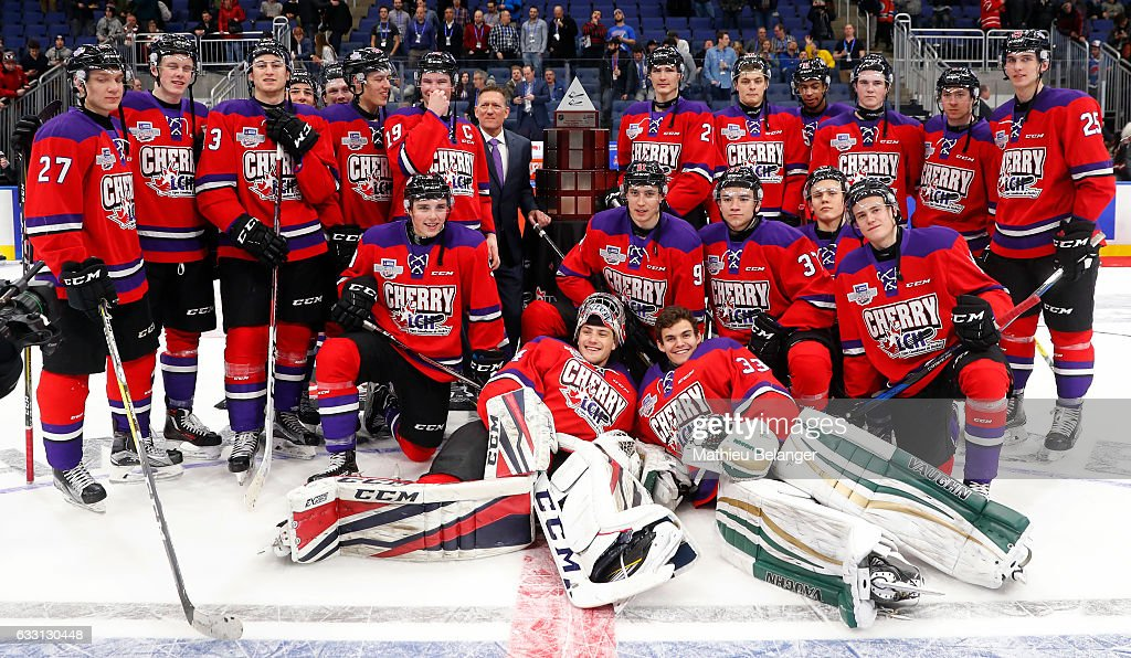 Team Cherry players pose for a picture after their win againt Team Orr during their Sherwin-Williams CHL/NHL Top Prospects Game at the Videotron Center on January 30, 2017 in Quebec City, Quebec, Canada.