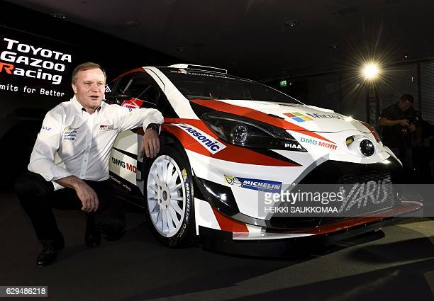 Team chief former Rally World Champion Tommi Makinen is pictured during the presentation of the Toyota rally team and Toyota Yaris WRC car in...