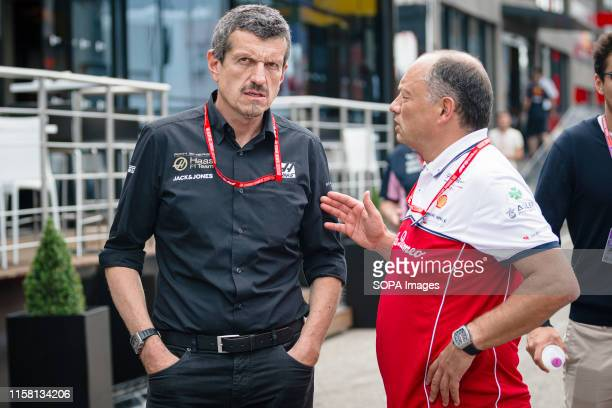 HOCKENHEIMRING HOCKENHEIM GERMANY Team chief of the Rich Energy Haas F1 Team Guenther Steiner and team chief of Alfa Romeo Racing Frederic Vasseur...