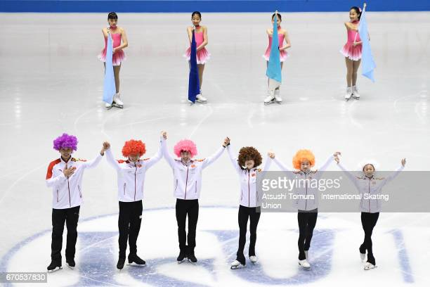Team China attend the opening ceremony during the 1st day of the ISU World Team Trophy 2017 on April 20 2017 in Tokyo Japan