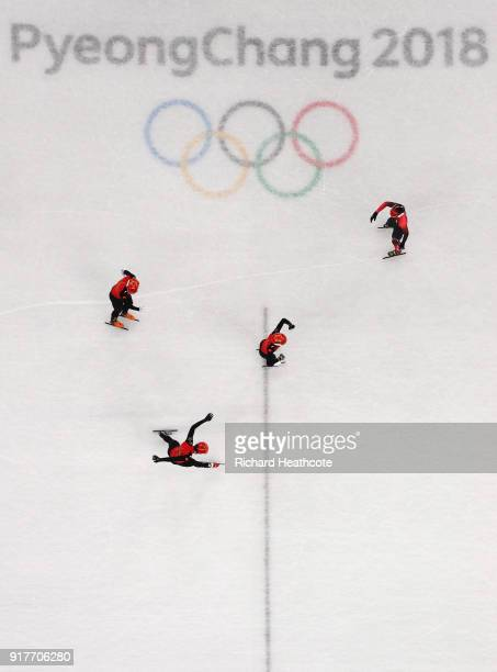 Team China celebrates an Olympic record during the Men's 5000m Relay Short Track Speed Skating heat 1 on day four of the PyeongChang 2018 Winter...