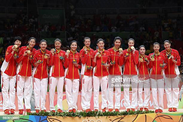 Team China celebrates winning gold during the Women's Gold Medal Match between Serbia and China on Day 15 of the Rio 2016 Olympic Games at the...