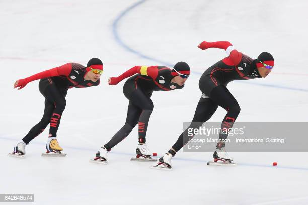 Team China compete in the men's team pursuit during day three of the World Junior Speed Skating Championships at Oulunkyla Sports Park on February 19...