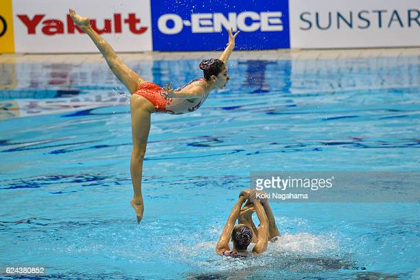 Team China compete in the Synchronized Swimming Team Free Routine Final during the 10th Asian Swimming Championships 2016 at the Tokyo Tatsumi...