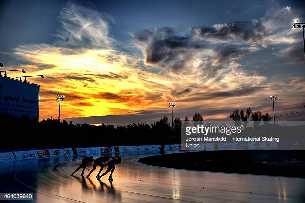 Team China compete in the Women's Team Sprint during day two of the ISU World Junior Speed Skating Championships at Stegny Ice Rink on February 21...