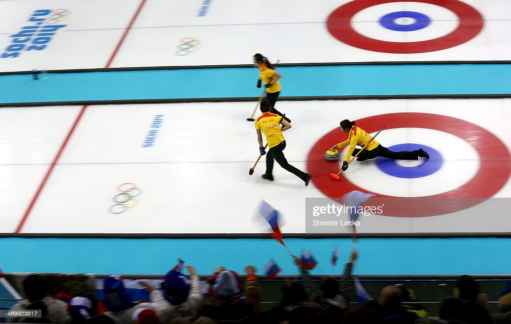 Team China competes against Korea during the Women's Curling Round Robin match on day seven of the Sochi 2014 Winter Olympics at Ice Cube Curling Center on February 14, 2014 in Sochi, Russia.