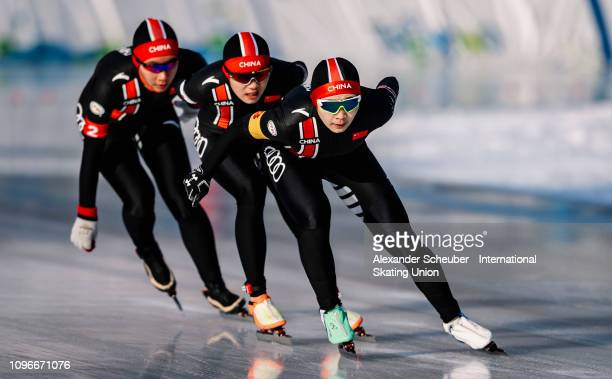 Team China competes in the Ladies Team Pursuit sprint race during the ISU Junior World Cup Speed Skating Final day 1 on February 9 2019 in Trento...