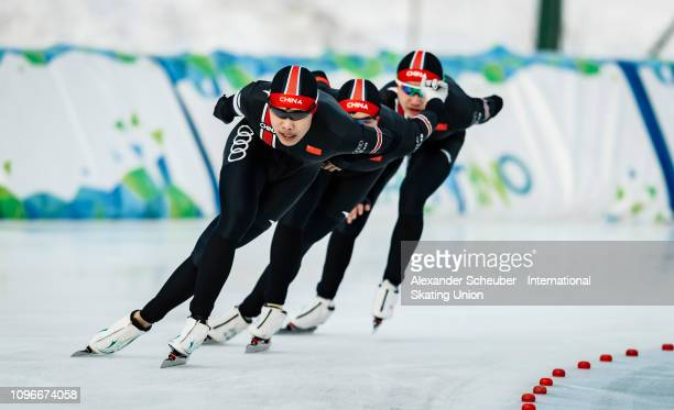 Team China competes in the Mens Team Pursuit sprint race during the ISU Junior World Cup Speed Skating Final day 1 on February 9 2019 in Trento Italy