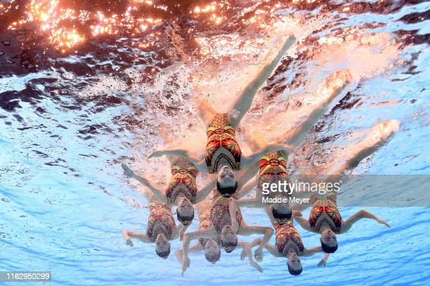 Team China competes in the Team Free Final on day eight of the Gwangju 2019 FINA World Championships at Yeomju Gymnasium on July 19, 2019 in Gwangju,...