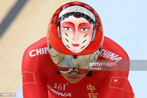 Team China competes in the Women's Team Sprint Qualifying on Day 7 of the Rio 2016 Olympic Games at the Rio Olympic Velodrome on August 12 2016 in...