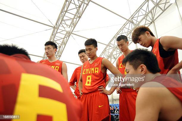 Team China during the Nike International Junior Tournament game between Team China v Club Joventut Badalona at London Soccerdome on May 11 2013 in...