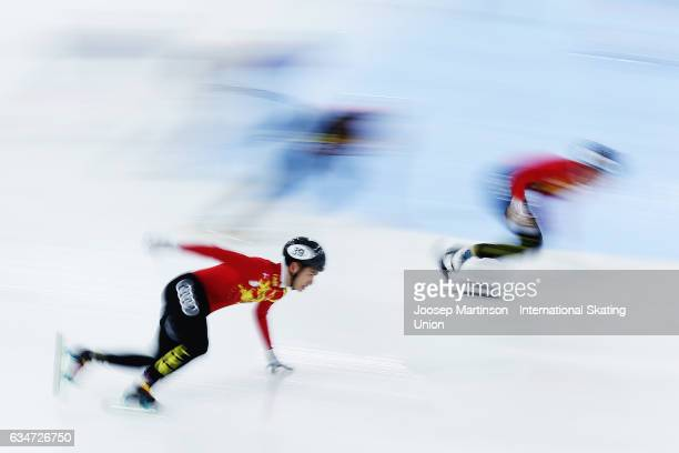 Team China lead in the Men's 5000m relay semi final during day one of the ISU World Cup Short Track at Minsk Arena on February 11, 2017 in Minsk,...