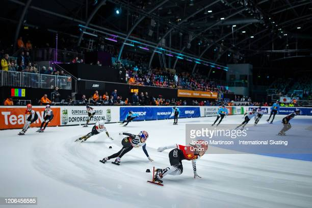 Team China leads the pack ahead of team Korea and team Japan in the Mixed Gender Relay during day 1 of the ISU World Cup Short Track at...