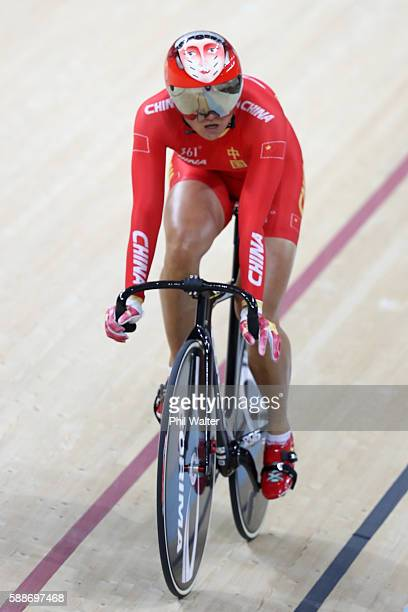Team China reacts after competing in the Women's Team Sprint Qualifying on Day 7 of the Rio 2016 Olympic Games at the Rio Olympic Velodrome on August...