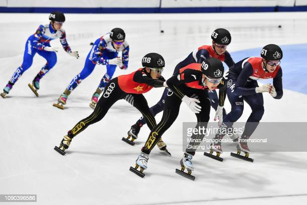 Team China Team Netherlands and Team Russia compete in the men's 3000m relay final during the ISU World Junior Short Track Championships at Maurice...