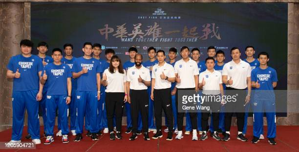 Team Chinese Taipei pose at the Chinese Taipei Basketball national team press conference ahead of the FIBA Asia Cup 2021 qualifiers on February 13...