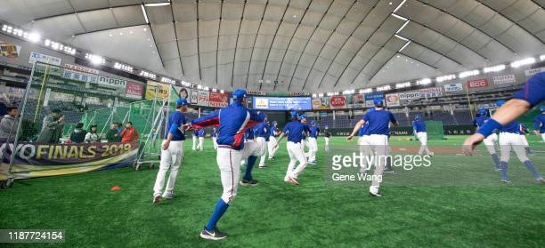 Team Chinese Taipei pratice beforethe WBSC Premier 12 Super Round game between USA and Chinese Taipei at the Tokyo Dome on November 15 2019 in Tokyo...