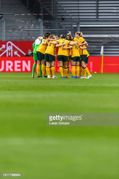 Team circle ahead of the International Friendly between Germany and Australia at BRITA-Arena on April 10, 2021 in Wiesbaden, Germany.