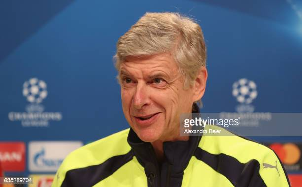 Team coach Arsene Wenger of Arsenal FC smiles during a press conference at Allianz Arena on February 14 2017 in Munich Germany FC Bayern Muenchen...