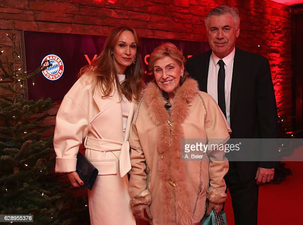 Team coach Carlo Ancelotti of FC Bayern Muenchen and his wife Mariann Barrena McClay arrive for the club's Christmas party at H'ugo's bar on December...