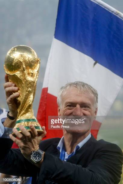 Team coach Didier Deschamps and his family celebrate the 2018 World Cup title after a 42 win against Croatia at Luzhniki Stadium in Moscow