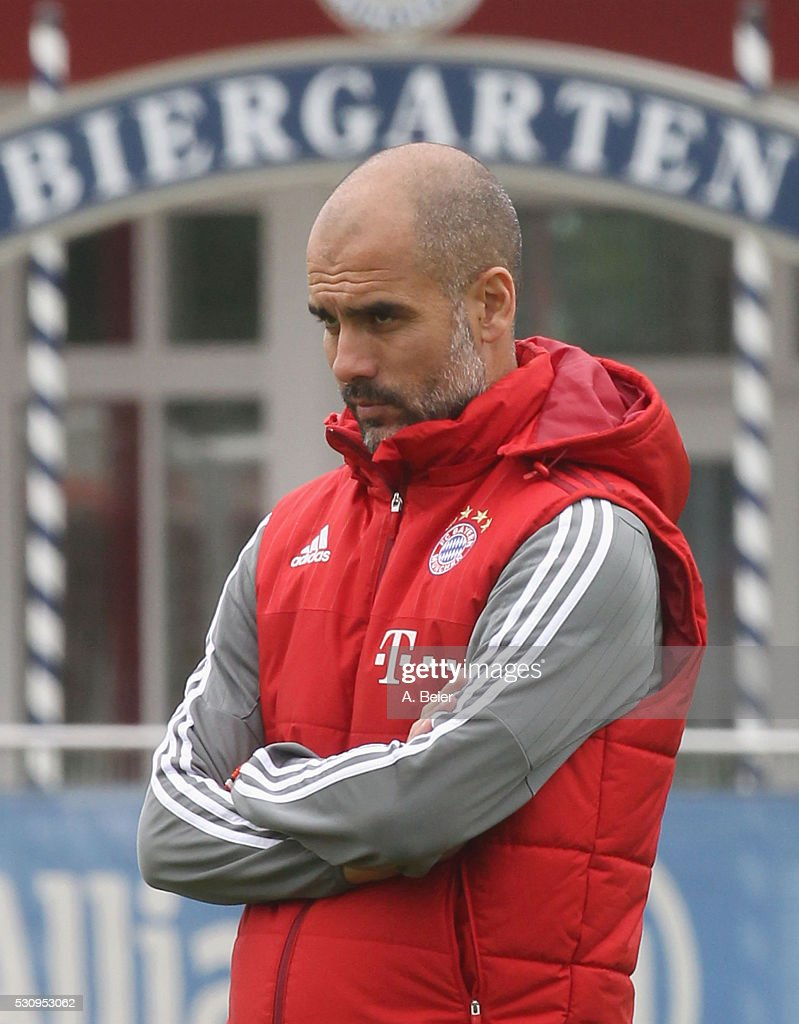 Team coach Josep Guardiola of Bayern Muenchen is pictured during a training session at FC Bayern Muenchen training ground on May 12, 2016 in Munich, Germany.