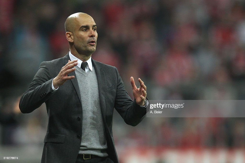 Team coach Josep Guardiola of Bayern Muenchen reacts during the Champions League quarter final first leg match between FC Bayern Muenchen and SL Benfica at Allianz Arena on April 5, 2016 in Munich, Germany.