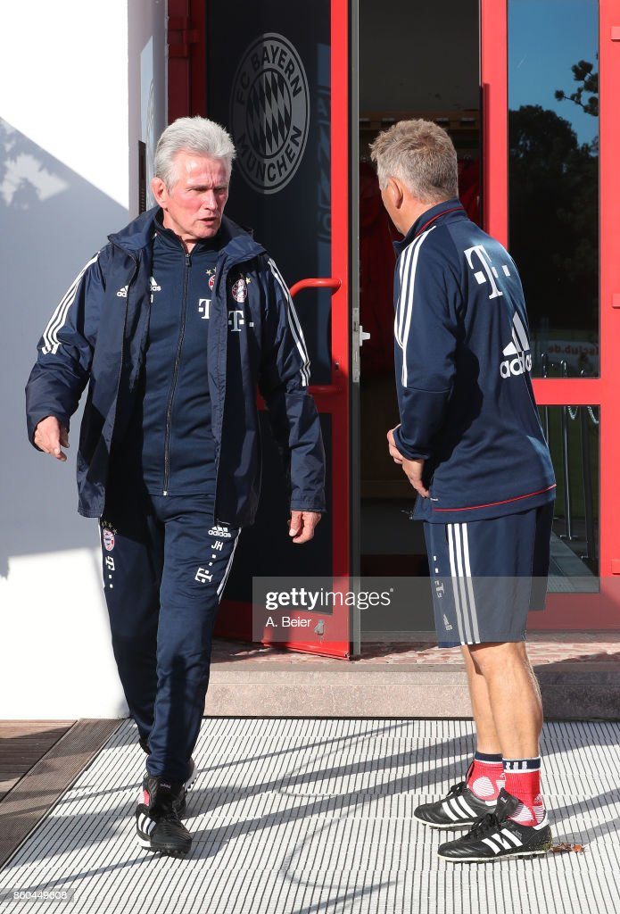 Team coach Jupp Heynckes (L) and assistent coach Peter Hermann of FC Bayern Muenchen arrive for a training session at the Saebener Strasse training ground on October 12, 2017 in Munich, Germany.
