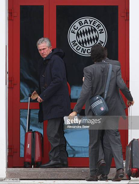 Team coach Jupp Heynckes of Bayern Muenchen arrives a training session on February 23 2012 in Munich Germany