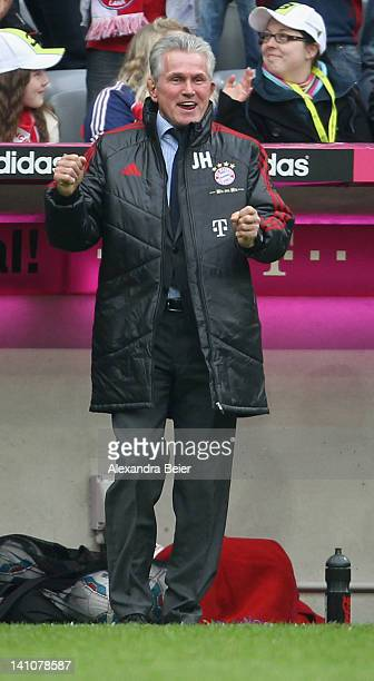 Team coach Jupp Heynckes of Bayern Muenchen celebrates his team's seventh goal during the Bundesliga match between FC Bayern Muenchen and 1899...