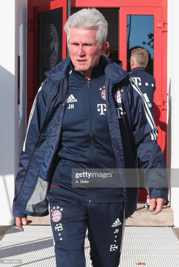 Team coach Jupp Heynckes of FC Bayern Muenchen arrives for a training session at the Saebener Strasse training ground on October 12, 2017 in Munich, Germany.