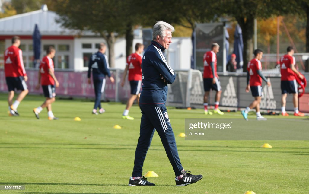 Team coach Jupp Heynckes of FC Bayern Muenchen is pictured during a training session at the Saebener Strasse training ground on October 12, 2017 in Munich, Germany.