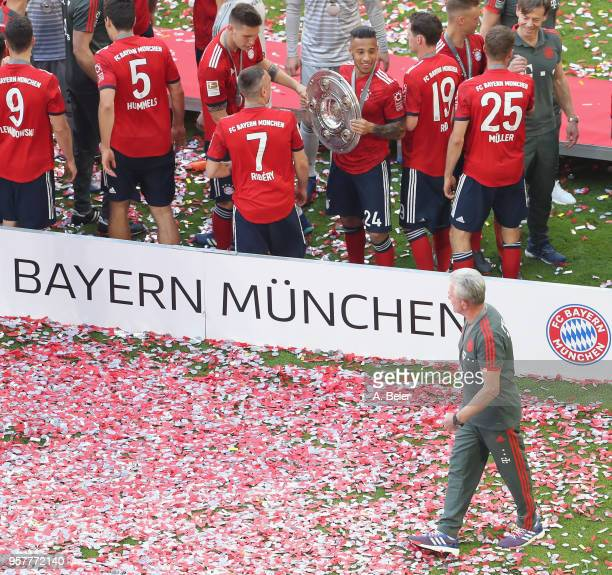 Team coach Jupp Heynckes of FC Bayern Muenchen is pictured celebrating the German Championship title after the Bundesliga match between FC Bayern...